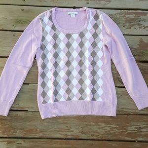NWT Liz Claiborne Plaid Pink Sweater